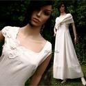 GILDA - vászonruha L-XL, Ruha, divat, cipő, Esküvő, Menyasszonyi ruha, Esküvői ruha, Varrás, Azonos nevű menyasszonyi ruhám lenvászonból készült, klöpli-csipkével díszített, rusztikus változat..., Meska