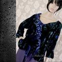 YVETTE - design-tunika XXL, Ruha, divat, cipő, Női ruha, Kismamaruha, Blúz, Varrás, A francia-elegancia jegyében: Rózsamintás selyembársonyból készült fodros aljú, japán ujjú, romanti..., Meska