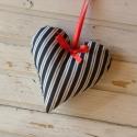 Kék csíkos szív, Baba-mama-gyerek, Dekoráció, Mindenmás, Otthon, lakberendezés, Varrás, 12 cm magas kék-drapp csíkos, minőségi vászonból készült szívemet piros szatén szalaggal díszítettem..., Meska