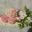 Fa szív rózsaszínben  AKCIÓS, Otthon, lakberendezés, Mindenmás, Dekoráció, Famegmunkálás, Varrás,  16 cm magas és 8mm vastag fa szívem antikolt, rózsaszín vászon anyagokból készült rózsákkal díszít..., Meska