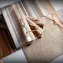 AKCIÓS! 4 személyes tányéralátét szett kis terítővel (barna csíkos, zsákvászon-bútorszövet), Otthon, lakberendezés, Konyhafelszerelés, Férfiaknak, Edényalátét, Varrás, 4 darab tányéralátét és egy azonos anyagból készült, asztalközépre helyezhető kis terítő szolid bar..., Meska
