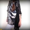 Csipkés selyemtunika (fekete-piszkosfehér-mályvásbarna), Ruha, divat, cipő, Női ruha, Felsőrész, póló, Varrás, Fekete-piszkosfehér-mályvásbarna árnyalatú selyemből és fekete műszálas, elasztikus csipkéből készü..., Meska