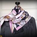 Elegáns kendő, fekete-fehér-drapp-rózsaszín (dupla anyagból, pamut), Ruha, divat, cipő, Kendő, sál, sapka, kesztyű, Kendő, Női ruha, Varrás, Fekete-fehér-drapp-rózsaszín, különleges mintás puha pamutból készült kendő (háromszög alakú).  Dup..., Meska
