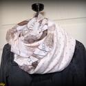 Púderszínű tavaszi csősál (pamut), Ruha, divat, cipő, Kendő, sál, sapka, kesztyű, Sál, Női ruha, Varrás, Nagyon halvány púderrózsaszín (szinte bézs) alapon szürkésbarna pöttyös pamutból és különleges mint..., Meska