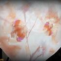 Barackszínű, orchideás sálkendő/strandkendő (dupla réteg anyagból), Ruha, divat, cipő, Kendő, sál, sapka, kesztyű, Kendő, Varrás, Pasztell barack-mályva-fehér színű, orchidea mintás, nagyméretű sálkendő muszlinból (háromszög alak..., Meska