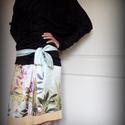 Egzotikus selyemszoknya (halvány türkiz, tarka papagájokkal), Ruha, divat, cipő, Női ruha, Szoknya, Varrás, Tavasztól kora őszig hordható, libbenős kis selyem szoknya. :-)  Halvány türkiz alapon élénk színű ..., Meska
