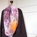 Rózsás tavaszi-őszi csősál (lila-bordó-narancs), Ruha, divat, cipő, Kendő, sál, sapka, kesztyű, Sál, Női ruha, Varrás, Bordós-lilás-narancsos árnyalatú, színes rózsás könnyű viszkóz muszlinból készült csősál.   KÉRLEK ..., Meska