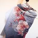 ORCHIDEÁK óriásméretű sálkendő/strandkendő (dupla réteg anyagból), Ruha, divat, cipő, Kendő, sál, sapka, kesztyű, Kendő, Női ruha, Varrás, Erőteljes narancsszínű és pink, piros, szürke, fekete és fehér szín összeállítású viszkóz muszlinbó..., Meska