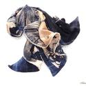 Kékes-bézses, csipkés kendő, Ruha, divat, cipő, Kendő, sál, sapka, kesztyű, Kendő, Női ruha, Varrás, Sötétkékes-bézses színű, mintás gépi kötött kelméből készült, kis méretű kendő (háromszög alakú, du..., Meska
