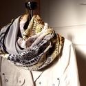 """""""Őszi napocska"""" körmintás csősál őszies színekkel, Ruha, divat, cipő, Kendő, sál, sapka, kesztyű, Sál, Női ruha, Varrás, Őszies színű köröcskés-szirmos-pötyis, nagyon finom szövésű pamutból és középszürke dzsörzéből kész..., Meska"""