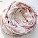 Púderes csősál, szívecskés-virágos :-) (selyem-pamut), Ruha, divat, cipő, Kendő, sál, sapka, kesztyű, Sál, Női ruha, Varrás, Tavaszi-őszi, selyemből és pamutdzsörzéből szabott csősál finom mintázattal és pasztell szürke-rózs..., Meska