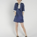 Miniruha, Ruha, divat, cipő, Női ruha, Ruha, Kék hajszálcsíkos miniruha.  Rendelhető különböző konfekcióméretekben. S, M, L, XL Anyaga lenvászon...., Meska
