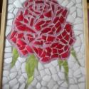 Rózsa, Dekoráció, Otthon, lakberendezés, Kép, Falikép, Újrahasznosított alapanyagból készült termékek, Mozaik, Mázas kerámia felhasználásával készült mozaik, fa keretben.  Mérete: 30 cm x 40 cm  Szállítási költ..., Meska