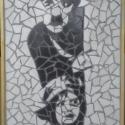 Chaplin: A kölyök, Dekoráció, Otthon, lakberendezés, Kép, Falikép, Újrahasznosított alapanyagból készült termékek, Mozaik, Mázas kerámiából készült mozaik kép, fa keretben.  Mérete: 40 cm x 80 cm.  Átvétel: személyesen vag..., Meska