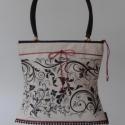 ARTBAG- drapp farmer táska saját tervezésű mintával, Táska, Válltáska, oldaltáska, Varrás,  Drapp farmer táska,saját tervezésű fekete indás  nyomással ,fekete csipkével ,pici pirossal.    Egy..., Meska