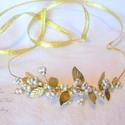 Arany levél tiara - menyasszonyi fejpánt koszorú arany  bogyós, Esküvő, Hajdísz, ruhadísz, Ékszerkészítés, Arany leveles tiara, menyasszonyi fejpánt a 2015 esküvői trendeknek megfelelően.  Vintage stílusú f..., Meska