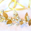 Arany levél tiara - menyasszonyi fejpánt koszorú arany  bogyós, Esküvő, Hajdísz, ruhadísz, Esküvői ékszer, Ékszerkészítés, Arany leveles tiara, menyasszonyi fejpánt a 2015 esküvői trendeknek megfelelően.  Vintage stílusú f..., Meska