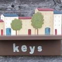 Kulcstartó város, Otthon, lakberendezés, Famegmunkálás, Festett tárgyak, 16mm MDF-ból készült. Akril festékkel festett, matt lakkal kezelt.  Key's Kulcsok felirattal.  Kulc..., Meska