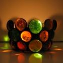 Borostyán és zöld tiffany mécsestartó, Dekoráció, Otthon, lakberendezés, Gyertya, mécses, gyertyatartó, Karácsonyi, adventi apróságok, Üvegművészet, Tiffany technikával,borostyán és zöld színű áttetsző lámpagyöngyökből, borostyán sárga színű üvegal..., Meska