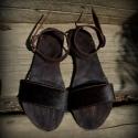 """""""Wood""""Design szandál H MadeS H O E  , Ruha, divat, cipő, Cipő, papucs, Bőrművesség, Varrás, Egyedi tervezésű és kivitelezésű cipők, minden modell, az éppen aktuális anyagok által születnek, m..., Meska"""