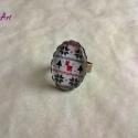 Norvég mintás üveglencsés gyűrű, Ékszer, óra, Gyűrű, Norvég mintás, szépséges, egyedi üveglencsés gyűrű. Melegséget hoz a zimankóba! :)   A gyűrűalap áll..., Meska