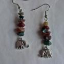 Indiai jáspis elefántokkal, Ékszer, óra, Fülbevaló, Indiai jáspis ásványkövekből és elefánt fityegőkből állítottam össze ezeket az egzotikus fülbevalóka..., Meska