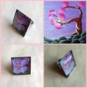 Alkony - üveglencsés gyűrű, Ékszer, óra, Képzőművészet, Gyűrű, Festmény, Anna húgom (NannArt) festményét felhasználva készítettem ezt a romantikus, egyedi, üveglencsés gyűrű..., Meska