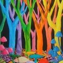 Meseerdő, Dekoráció, Otthon, lakberendezés, Falikép, A mese erdőm első felvonása :) Ez az erdő gombákban, és színekben úszik, ahogy az a fal is fog, ahov..., Meska