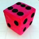 Rózsaszín (pink) dobókocka fekete pöttyökkel, Baba-mama-gyerek, Dekoráció, Játék, Készségfejlesztő játék, Varrás, Ez a színes dobókocka szivacsból és baby-soft plüssből készült. Teljesen szabályosan felpöttyözött,..., Meska