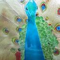 Páva - üvegfestmény - rendelhető, Otthon, lakberendezés, Képzőművészet , Falikép, Festmény, Festészet, Üvegművészet, Fotó alapján készített, egyedi, kézzel festett üvegfestmény, mérete 30 x 40 cm. Színben hozzáillő ke..., Meska