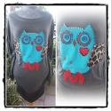 owl design felső, Ruha, divat, cipő, Baba-mama-gyerek, Női ruha, Blúz, Varrás, Egyedi bagoly felső.Kézi munka. mérete:l-xl Oldala gumival húzott, hossza:94cm. koptatott grafit sz..., Meska