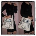 owl design táska, Táska, Baba-mama-gyerek, Ruha, divat, cipő, Válltáska, oldaltáska, Varrás, Akár a hóbagoly...vagy inkább hógombóc...flitterel kivart erős láncos pánttal diszitett design tásk..., Meska