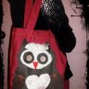 owl táska, Táska, Ruha, divat, cipő, Baba-mama-gyerek, Válltáska, oldaltáska, Varrás, Bordó vászontáska,bagolyal. Vidám divatos viselet a hétköznapokra..., Meska