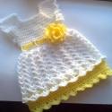 Fehér -sárga baba ruhácska, kisruha, babaruha, Ruha, divat, cipő, Gyerekruha, Horgolás,    Hófehér és halványsárga színekben készítettem ezt a kis ruhát.Rendelésre készül, ez a darab kb. ..., Meska