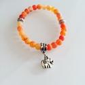 Szerencsehozó Narancs Achát karkötő, Tibeti ezüst elefánt Talizmánnal, Ékszer, óra, Karkötő, , Meska