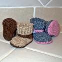 """""""Betty bakancs"""" horgolt baby cipőcske, Baba-mama-gyerek, Ruha, divat, cipő, Baba-mama kellék, Cipő, papucs, Horgolás, Kötés, Saját tervezésű horgolt babacipő. Talphossz: drapp színű: 8 cm(0-3 hón.) szürke színű: 10 cm (3-6 h..., Meska"""