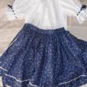kékfestő néptáncos szoknya, Ruha, divat, cipő, Gyerekruha, Gyerek (4-10 év), Varrás, Kékfestő mintás anyagból készült ez a néptáncos szoknya. A szoknyát méret után készítem, farkasfog ..., Meska