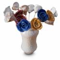Kerámia rózsa csokor EGYEDI pöttyös alborellóban, Dekoráció, Esküvő, Ünnepi dekoráció, Kerámia, Festett tárgyak, Kézzel készített kerámia rózsa csokor sárgaréz száron, törtfehér alapon fehér pöttyös alborellóban,..., Meska