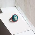 Piros, kék, és fehér, Ékszer, óra, Gyűrű, Gyurma, Ékszerkészítés, Szeretettel ajánlom ezt a kis, csinos szivecskés gyűrűt olyasvalakinek, aki nem szeret túl hivalkod..., Meska