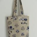 Baglyos táska (kék), Táska, Szatyor, Válltáska, oldaltáska, Varrás, Én imádom ezeket az édes kis baglyokat, minden színben.:-) Ez a kék/fekete változat.  Nyomottmintás..., Meska