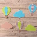 Hőlégballonok és felhőcskék, 6 db, polisztirol faldekoráció, Baba-mama-gyerek, Baba-mama kellék, Gyerekszoba, Baba falikép, Festett tárgyak, Mindenmás, Hőlégballon és felhő formájú faldekoráció szett gyerekszobába.  Méret: felhő 20 cm széles, hőlégbal..., Meska