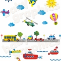 Járművek hajóval áthelyezhető falmatrica szett, Baba-mama-gyerek, Dekoráció, Gyerekszoba, Falmatrica, Fotó, grafika, rajz, illusztráció, Most már ÁTLÁTSZÓ vinilen is kapható!  A legtöbb kisfiú imádja a járműveket. Ezt a színes járművekk..., Meska