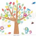 Bagoly és madár a kisfán áthelyezhető falmatrica szett, Baba-mama-gyerek, Dekoráció, Gyerekszoba, Falmatrica, Fotó, grafika, rajz, illusztráció, Most már ÁTLÁTSZÓ vinilen is kapható!  Nagyon jó szórakozás egy kisfa alatt játszani azok számára, a..., Meska