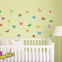 Pillangók áthelyezhető falmatrica szett, Baba-mama-gyerek, Dekoráció, Gyerekszoba, Falmatrica, Fotó, grafika, rajz, illusztráció, A nyári napsütés melegére bukkantak fel ezek a pompás színekben játszó pillangók. Egészítsd ki a gy..., Meska