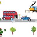 Járművek traktorral áthelyezhető falmatrica szett, Baba-mama-gyerek, Dekoráció, Gyerekszoba, Falmatrica, Fotó, grafika, rajz, illusztráció, Járművek traktorral áthelyezhető falmatrica szett  A nagyvárosi zajos életnek van egy roppant izgal..., Meska