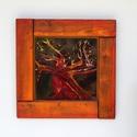 tűzzománc kép , Dekoráció, Képzőművészet, Kép, Tűzzománc, vörös fák  Különleges hangulatú festőzománc technikával készült kép 24karátos arany levelekkel  Mér..., Meska