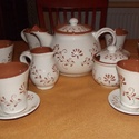 Szilvia kézzel festett  igényes pasztellkék vizes ,limonádés készlet, Konyhafelszerelés, Bögre, csésze, Kerámia, 17 db-os teáskészlet  6 db teás bögre 6 db bögrealátét kistányér 1 db tea kiöntő (kb 1,5 l) 1 db cu..., Meska