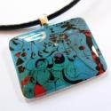 Miro: Konstelláció - medál, Ékszer, óra, Medál, Nyaklánc, Ékszerkészítés, Miro egyik kék képe.  A medál tetején üvegszerű, fényes fedőréteg van. Akasztója ezüstözött.    Mér..., Meska