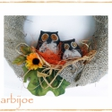 Bagolytanya  őszi kopogtató, ajtódísz, függeszthető dísz, zsákvászonból, Dekoráció, Otthon, lakberendezés, Dísz, Varrás, Virágkötés, Rusztikus hangulatú őszi dekoráció, zsákvászonból, barátságos bagolypárral és rengeteg szeretettel:..., Meska