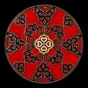 Vörös-fekete, Dekoráció, Otthon, lakberendezés, Kép, Falikép, Festészet, Üvegm?vészet, Kézzel vágott-csiszolt, 25 cm-es üveglapra, saját minta alapján készült, keleties hatású mandala.  ..., Meska